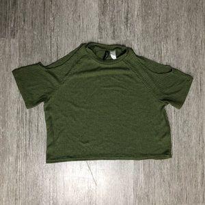 Divided Shoulder-less Green Crop Top S